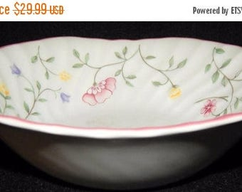 """ON SALE Johnson Brothers SUMMER Chintz Lot of 3 Square Cereal Bowls Blue & Pink Floral Scalloped Rim Pink Trim Dinnerware 6 1/8"""" in diameter"""