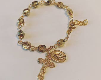 Gold Crystal Rosary Bracelet