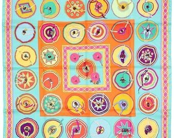"""HERMES SCARF Silk """"Belles du Mexique"""" by Virginie Jamin 90cm Carre 100% Auth"""