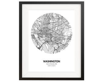 Washington DC Map Poster - City Map Print 18 by 24 inches- District of Columbia - City maps - Map Poster - Gift Idea for Travel Lovers