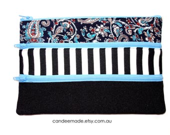Floral, Black,stripy Pencil case/ Makeup Bag 21cm x 14.5cm  With three Pockets and three Zippers