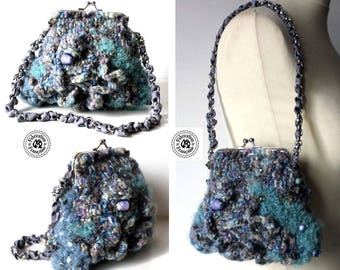 Mini bag 16 x 19 cm knitted wool bouillonnées multicolored tones: blue turquoise grey jeans