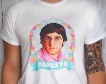 """Louis Theroux """"Gangsta - Theroux & Theroux"""" Floral Illustration White Unisex T-Shirt"""