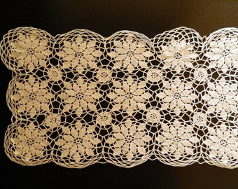 French lace doily (white color cotton) handmade crocheted. french VINTAGE