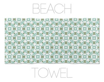 Graphic Art Towel, Barcelona Tiles, Printed Towels, Swimming Towels, Designer Beach Towel, Unique Towels