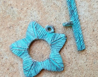 Flower Toggle Clasp with Green Patina, Greek Mykonos - 1 Set