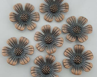 Large Flower Pendant, Antique Copper, 34x34mm, 2 Pieces