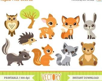 SALE 40%OFF 10 Woodland Animal Clipart, Forest Animals, Animal Clip Art (Fox, Squirrel, Skunk, Tree, Rabbit, Owl, Bear, Raccoon, Deer & Hedg