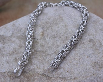 Sterling Silver Fine Byzantine Bracelet Hand Crafted in solid 925 Silver Chainmail British Made mens womens