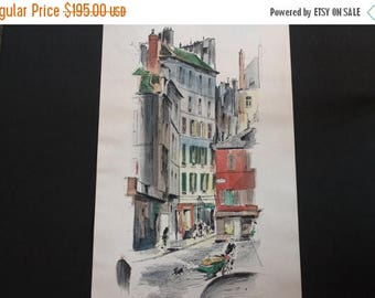 """SALE John Haymson - St. Germain des Pres 6681  Large Fine Art Watercolor Print, 15"""" x 35"""""""