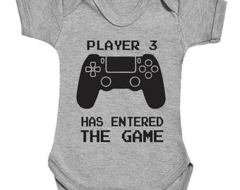 Player 3 has entered the game with controller cute funny babygrow bodysuit