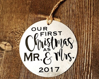 Newlywed Ornament. First Christmas as Mr and Mrs. First Christmas Married. wedding ornament.