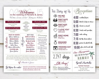 Printable Fun Infographic Wedding Program, Unique Wedding Program, Fun Program, Modern Program, Entertaining, Fun Facts, Hashtag, MB235