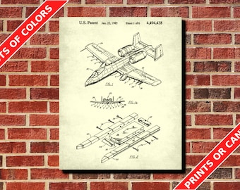 A10 Warthog, Airplane Decor, Aircraft Patent Print, Aircraft Poster, Airplane Room Decor, Flying Blueprint, Aviation Poster, Pilot Gift