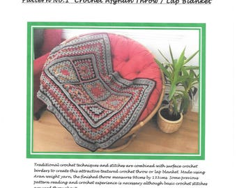 Crochet Pattern PDF Digital Download: Crochet Afghan Throw