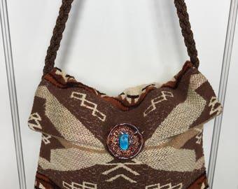 Vintage Native American print saddle blanket handbag with macrame shoulder strap