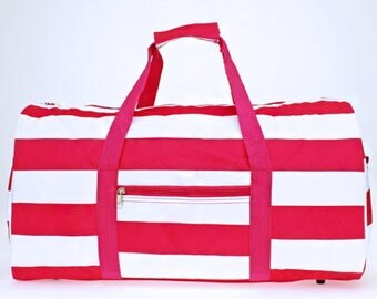 Pink and White Stripe Round Duffel Bag with Embroidery for summer camps, family trips, birthday gift, back to school, field trip