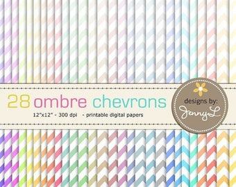 50% OFF Ombre Chevron Digital Papers for Digi-Scrapping, Cards, Invitations, Labels, Cake Toppers etc. Personal / Commercial Use