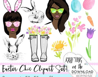 watercolor easter spring clipart png file watercolor floral clip art set watercolor spring fashion clipart png files african american girl