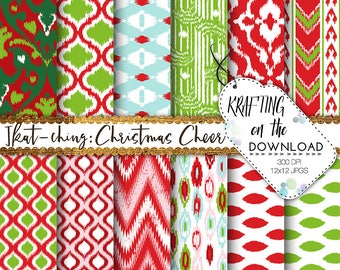 bright christmas digital paper ikat paper pack holiday colors christmas red and green ikat digital papers christmas lattice background