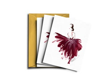 Fashion card set, Fashion illustration, Burgundy card, Illustrated card, Luxury fashion card, Elegant fashion card, Card fashion