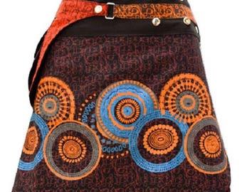 Reversible Hippie Patchwork Abstract Floral Detachable Pocket Wrap Skirt Black