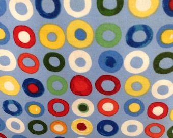 Out of This World, by Jill McDonald for P & B,  Blue Fabric with Red, Yellow, Orange, White and Green Dots, primary colors, OOP