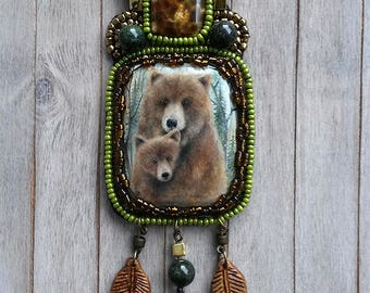 Hand painted bear, Beaded necklace, Painted pendant, Bear pendant