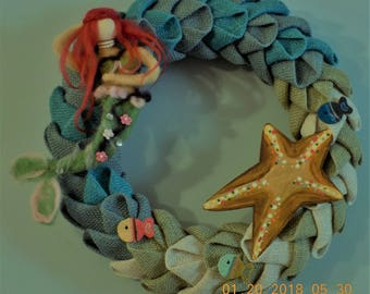 Swedish burlap braid wreath with felted mermaid,crochet fish, wooden star fish girls wreath nursery gift