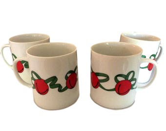 4 - Dept 56 Sleighbell Coffee Mugs, Christmas Mugs, Holiday Mugs, Bone China Coffee Mugs