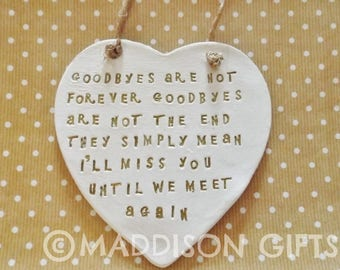Farewell Quote Plaque Hanging Heart Ornament Goodbye Leaving Gift
