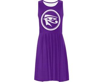 Eye of Heru Sleeveless Sun Dress // Egyptian Womens Clothing // Eye of Horus // Kemetic Clothing // Summer Dress Sun Dress Mini Dress