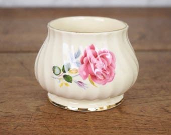 Vintage sugar bowl or small dish, cream ripples bone china with pink rose motif design