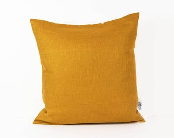 Mustard cushion, Mustard Yellow decor, Mustard pillow, Mid century pillow, Europe pillow sham, Colorful pillows, Mustard linen, Herringbone