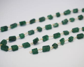20cm of chain chain Rosary in deep green aventurine beads and 24K Gold wire