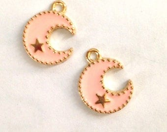 2 Moon Pink enamel and goldtone 17x13mm