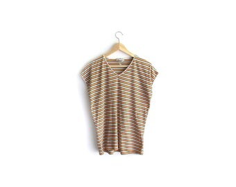 90s Rainbow Brite Shirt / Striped Blouse