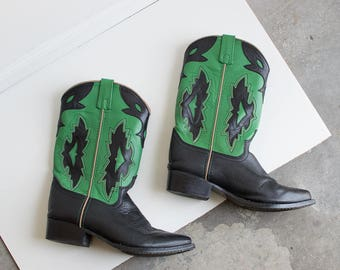 80s Poison Ivy Cowboy Boots / Green and Black Boots