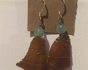 Brown wire-wrapped Sea Glass and Blue Opal earrings