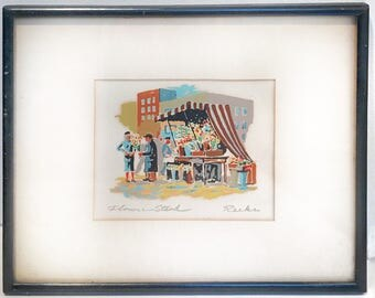 Mid Century, Vintage, Harry Reeks, Silk Screen, San Fransisco, Flower Cart, Signed, Listed Artist
