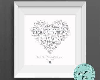 25th ANNIVERSARY GIFT - Word Art - Printable Gift - 25 Year Anniversary - 25th Wedding Anniversary - Silver Anniversary - Personalised Gifts