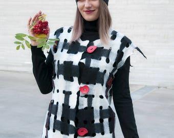 Felt art vest. Black and white. Felted vest. Women wool vest. Felted clothes. Stylish, warm, comfortable. Woolen watercolor.