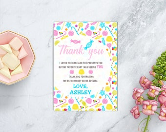 Candy land Birthday Thank You Card, Sweet Shoppe Candyland Party, Lollipop Birthday, Sweet 16, PRINTABLE