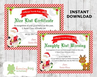 Santa nice list certificate christmas printables naughty santa nice list certificate christmas printable naughty list kids christmas wish list yelopaper Images
