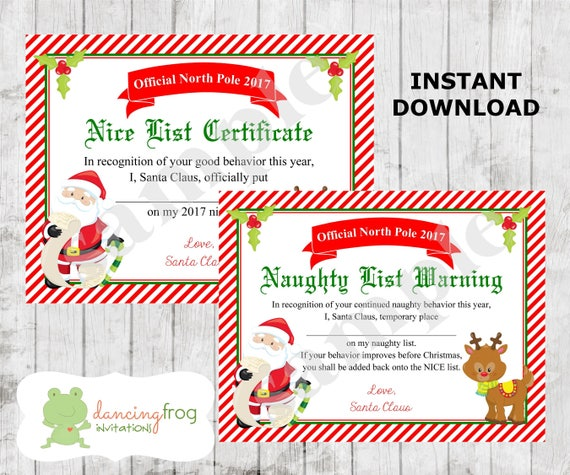 Santa nice list certificate christmas printable naughty santa nice list certificate christmas printable naughty list kids christmas wish list santa letter dear santa instant download spiritdancerdesigns Image collections
