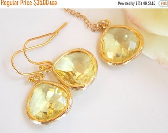 SALE Wedding Jewelry Set,Yellow Earrings and Necklace, Citrine, Soft Yellow, Light Yellow, Gold Filled, Bridesmaid Jewelry, Pendant, Brides