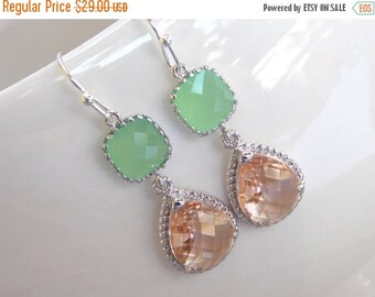 SALE Wedding Jewelry,Peach and Mint Earrings,Green and Champagne,Silver,Blush and Soft Green,Bridesmaid Jewelry, Wedding Gifts,Dangle, Gift,