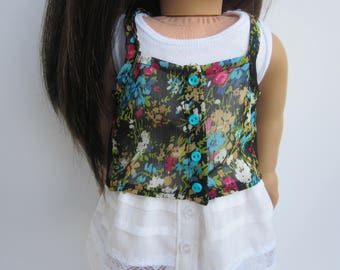 """Floral chiffon halter top and white tank top for 18"""" dolls such as American Girl"""