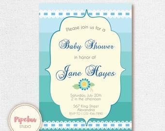 Babyshower Invitation. Pastel colors, personalized. Blue Babyshower invite. Teal invitation. Printable.
