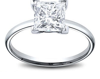 14K Gold 0.92 ct Princess Cut Diamond Solitaire Engagement Ring G SI2